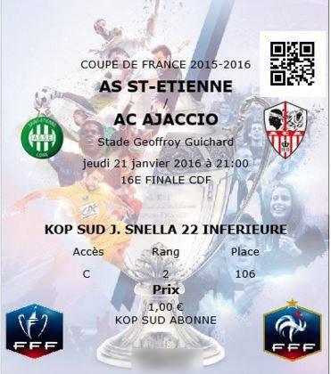 ASSE * AJACCIO du 21 janvier 2016 ,    Coupe de France 2015-2016.