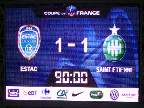 TROYES * ASSE du 10 février 2016 Coupe de France saison 2015-2016. Un résultat qui nous projette en 1/4 de finale.