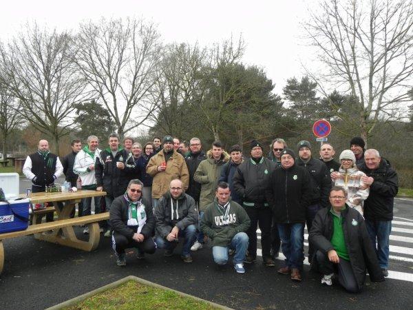 ASSE 3–2 FC BÂLE : Le départ de Blois se fait sous la neige mais rien n'arrête les Supporters Stéphanois.