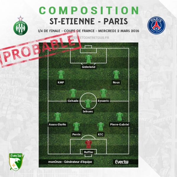 ASSE * PSG du 2 mars 2016 comptant pour les quarts de finale de la coupe de France.