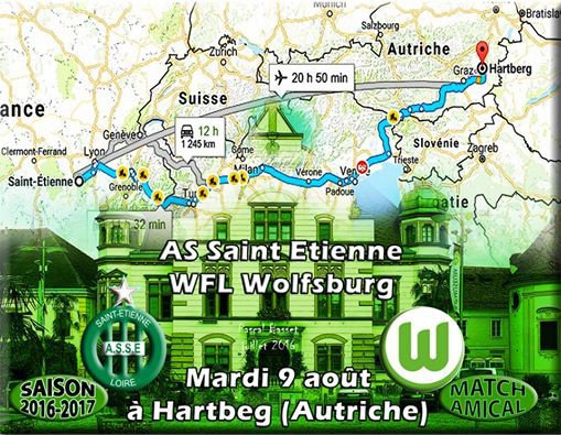 ASSE * WOLFSBURG  du mardi 9 août 2016 à Hartbeg ( Autriche ). match amical.