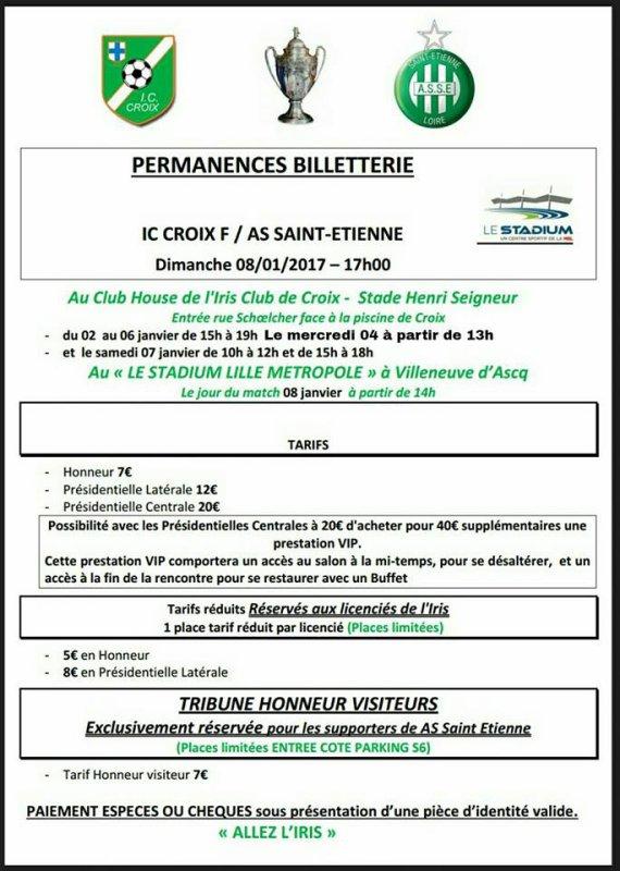 IC CROIX F * ASSE du 8 janvier 2017 comptant pour la coupe de France.
