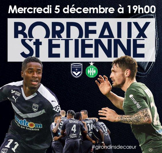 Girondins de BORDEAUX * ASSE du 5-12-2018 comptant pour la 16ème journée de championnat de ligue 1.