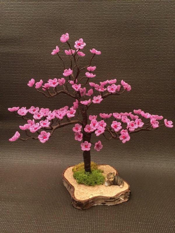 3069 bonsaï en fleurs en perles