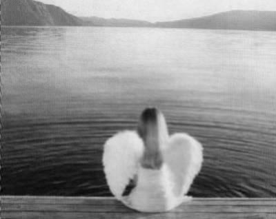 Un petit ange au bord de l'eau
