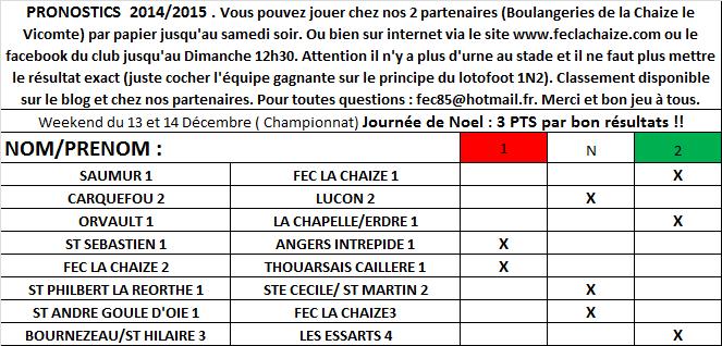 Pronostics J12 // BONUS de NOEL