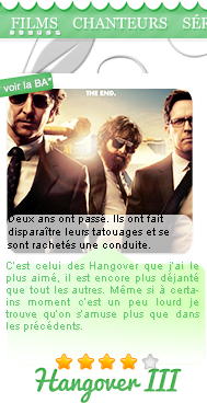First Time / Hangover III / Battleship / Number / The Last Song / Avengers