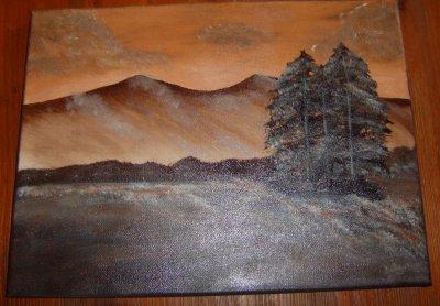 paysage sur ton chocolat acrylique