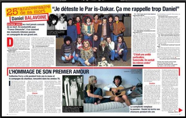 Interview de Patrick Juvet et Catherine Ferry dans France Dimanche.