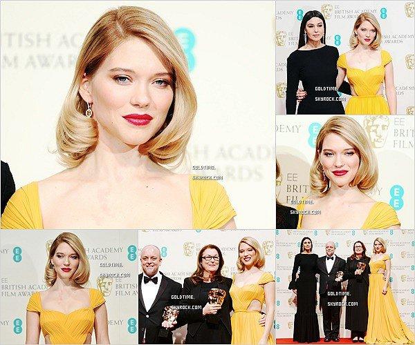 _  8/02/2015 :C'est une Léa Seydoux rayonnante qui assistait à la cérémonie des BAFTA à Londres Personnellement, je trouve Léa juste merveilleuse dans cette robe et j'adore sa coiffure ! Vos avis ?