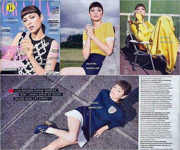 _ Novembre : Marion pose pour le magazine GRAZIA france de ce mois-ci, et fait la couverture.  Je trouve Marion toute jolie même si je n'aime pas forcément le style des photos. Vos avis ?