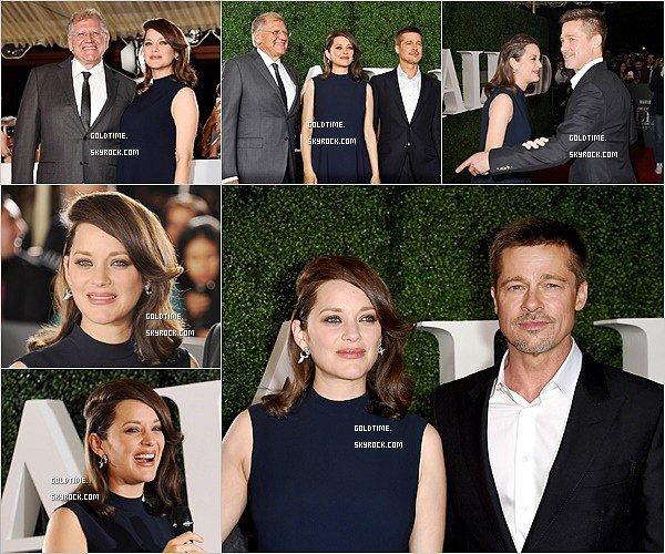 _ 9/11 : Marion était aux côtés de Brad Pitt pour présenter Allied à Los Angeles.  Je trouve Marion très élégante mais je ne suis pas fan du look, mais très heureuse que la promotion du film commence !