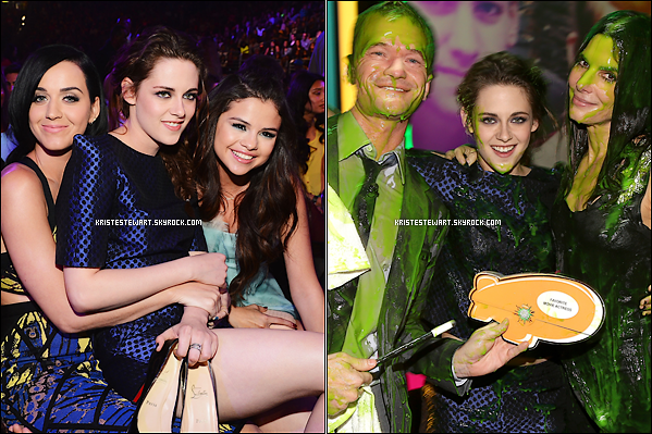 . 23.03.13 :C'est une Kristen toute souriante qui est allée aux Kids Choice Awards (le prix de la meilleure actrice).  Durant la cérémonie , elle en a profité pour poser aux côtés de stars comme Selena Gomez , Katy Perry . Personellement , c'est un TOP pour K.. .