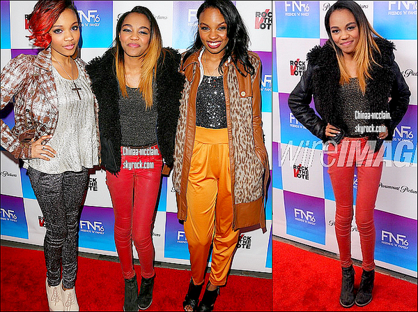 08.02.13. China & ses soeurs étaient aux Friends & Family Grammy Party Pair.