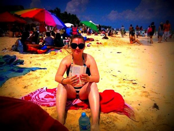 en la playa :)