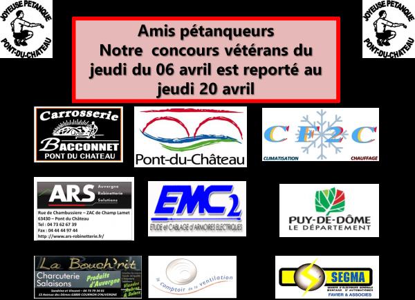 Report du concours triplette vétérans de Pont du Château