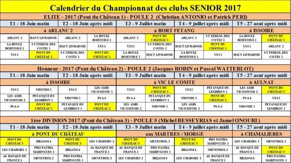 calendrier du championnat des clubs senior