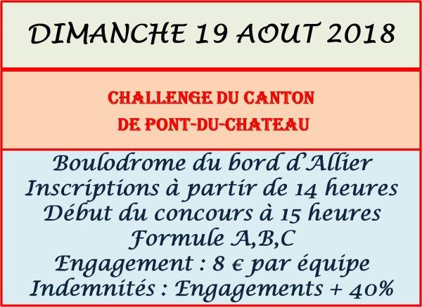 Dimanche 19 août 2018 : Challenge du canton de Pont du Château