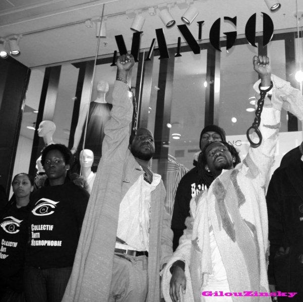 Action de protestation de la Brigade anti-negrophobie au Magasin Mango des Halles 2