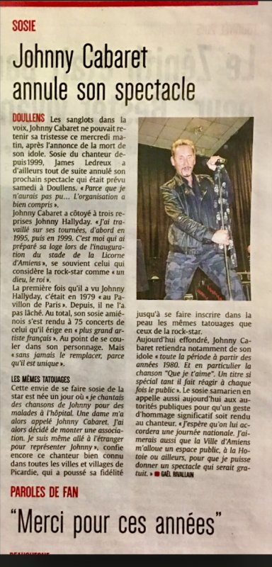 Courrier Picard . Johnny Cabaret. 07/12/2017