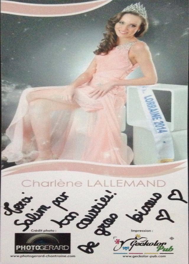 Dedicace de Miss Lorraine 2014 pour Miss France 2015, Charlène LALLEMAND