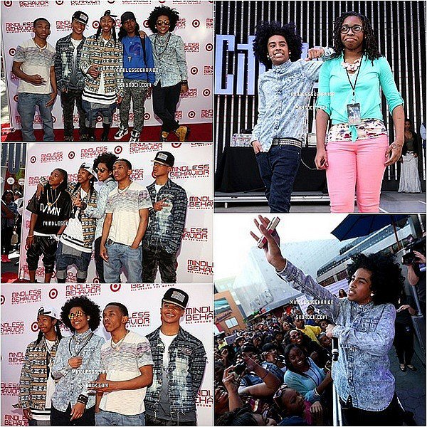 . » 10/ 03/ 13 : Les Mindless Behavior ont posés sur le red carpet, pour l'avant première de leur propre film ''All Around The World'' à Los Angeles il y avait beaucoup de stars présentes, comme diamond,Madison Pettis et bien d'autres.... .