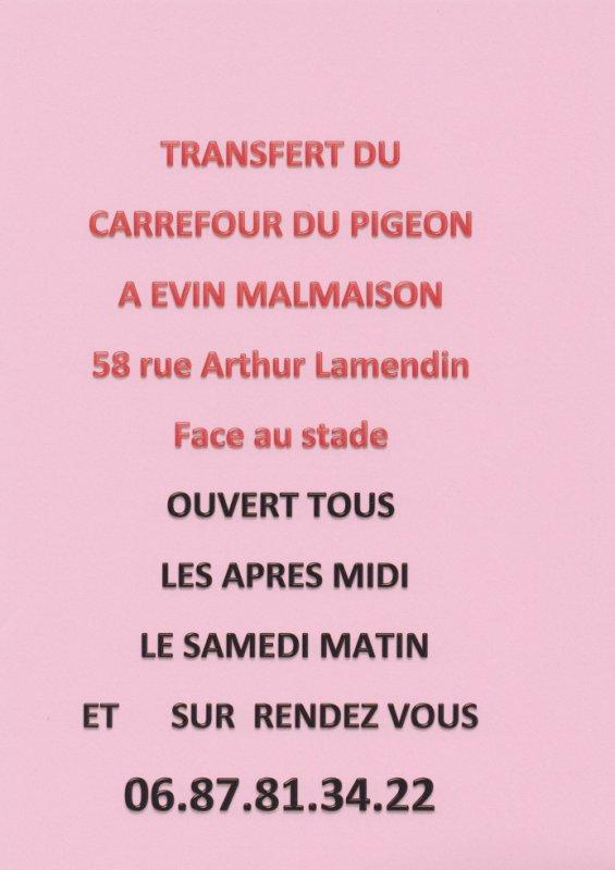 CHANGEMENT D'ADRESSE POUR LE CARREFOUR DU PIGEON