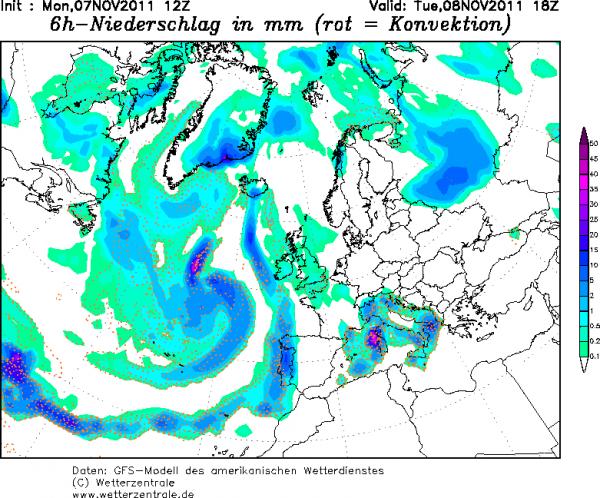 Mardi 8: carte précipitations