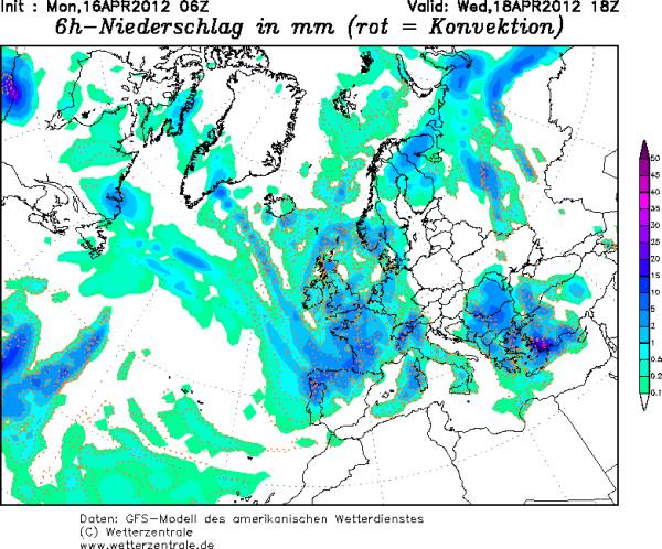 Carte précipitations Mercredi 18