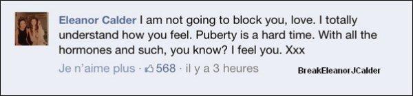 02/03/2013 - Une nouvelle photo d'Eleanor en compagnie d'une amie qu'elle a postée sur sont vrai Facebook. + Une fille parlait de Larry et contre Eleanor sur le facebook de El'