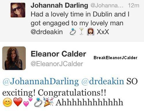 07/03/2013- Johanna la mère de Louis Tomlinson, s'est fiancée et Eleanor les a féliciter sur twitter !