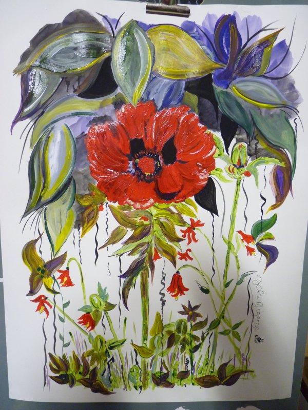 dernière peinture .... et pas encore sèche .....le Pavot du bonheur !!! taille 50x65 papier aquarelle 300grs