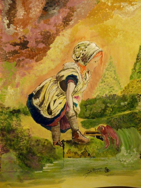 petite peinture de Noël taille 40x50 papier aquarelle 300grs peinture mixte !!