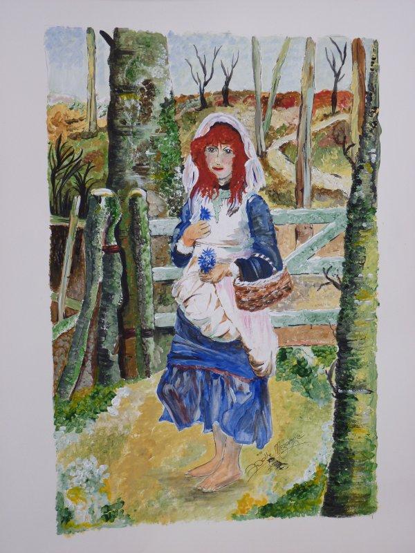 Manon aux champs !! aquarelle 40x50 papier aquarelle 300grs (hommage à Henri James)