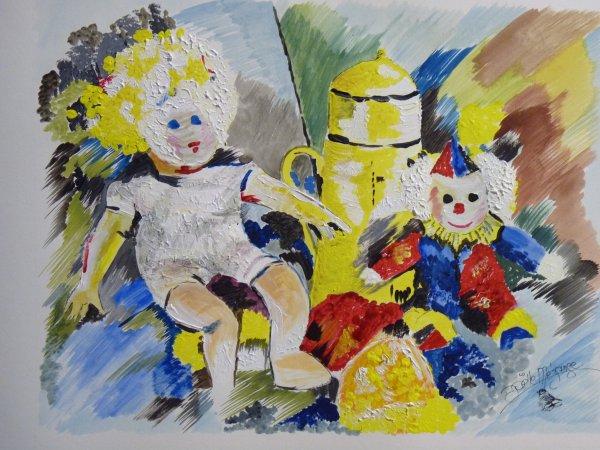 les joujoux , puisque ns allons vers NOEL aquarelle sur papier aquarelle 300 grs ..... petite peinture du Week end !!! LA POUPEE AU MASQUE BLANC....................