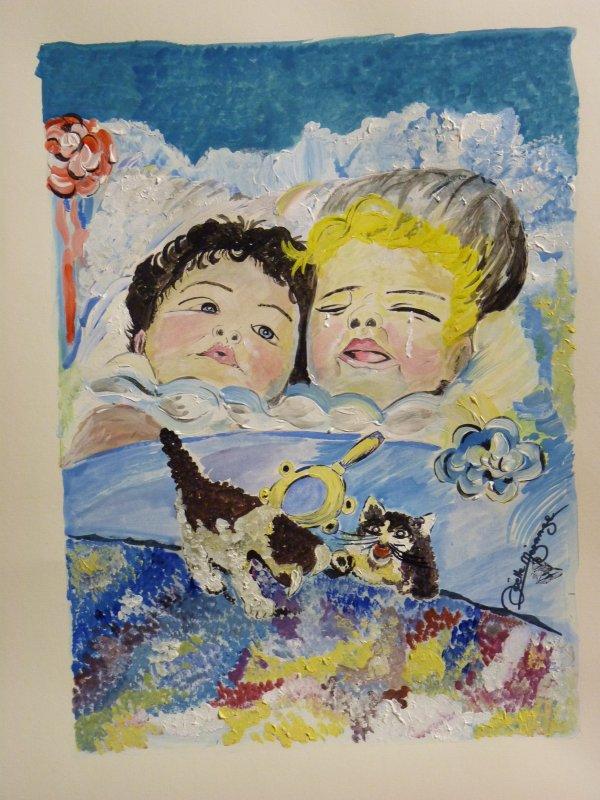 """"""" les bébés ."""".....( hommage à Harry Roseland  ) aquarelle terminée cet aprem 40x50n papier aquarelle  300grs"""