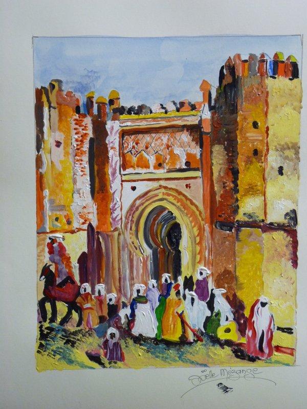 porte Mauresque..........terminée cet aprem et commencée à l'atelier !!! 40x50 papier 300grs aquarelle et acrylique