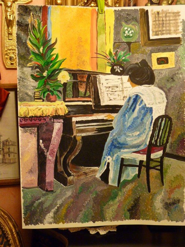 la dame au piano ; un clin d'oeil à Félix Valotton (1904) format 50x70 papier aquarelle 300grs --peinture mixte..