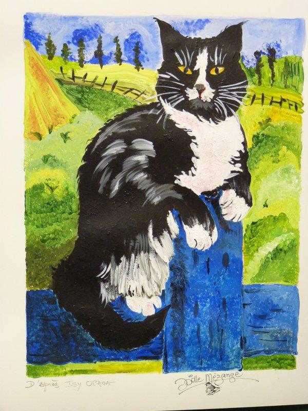 chat noir et blanc fait cet aprem ..... une petite envie de faire de la peinture papier aquarelle 300grs  40x50 aquarelle en tube ...