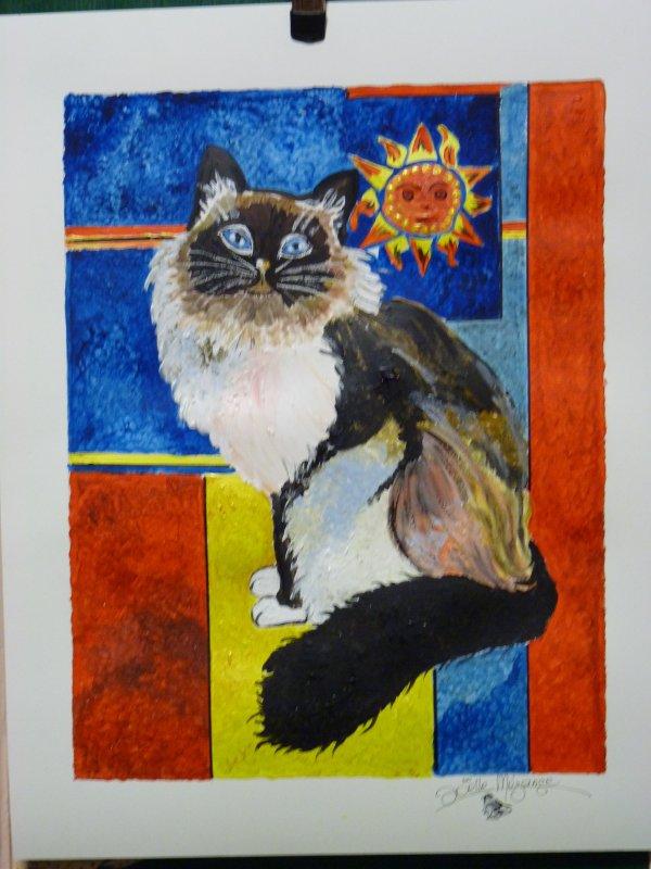 un petit chat fait ce dimanche ..... 40x50 papier aquarelle ,300 grs,  peinture mixte .........