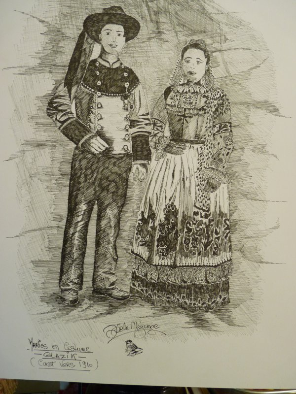un couple de mariés Bretons................terminé hier.........encre de Chine.....