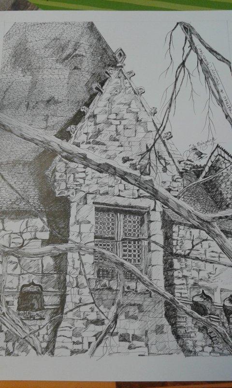CHATEAU de PONTIVY encre de chine sur papier bristol  40x50