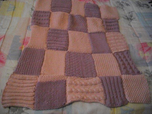 Plaid tricot Phildar rose mauve fini