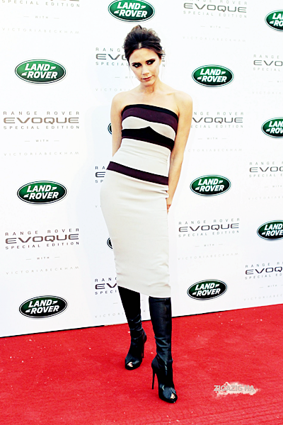22 avril | Victoria at an event to unveil the special edition Range Rover Evoque