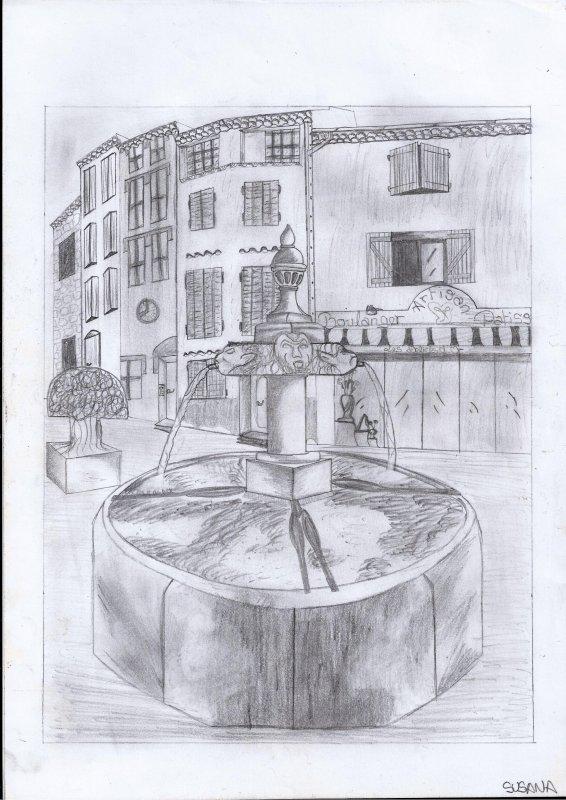 Croquis d'une fontaine