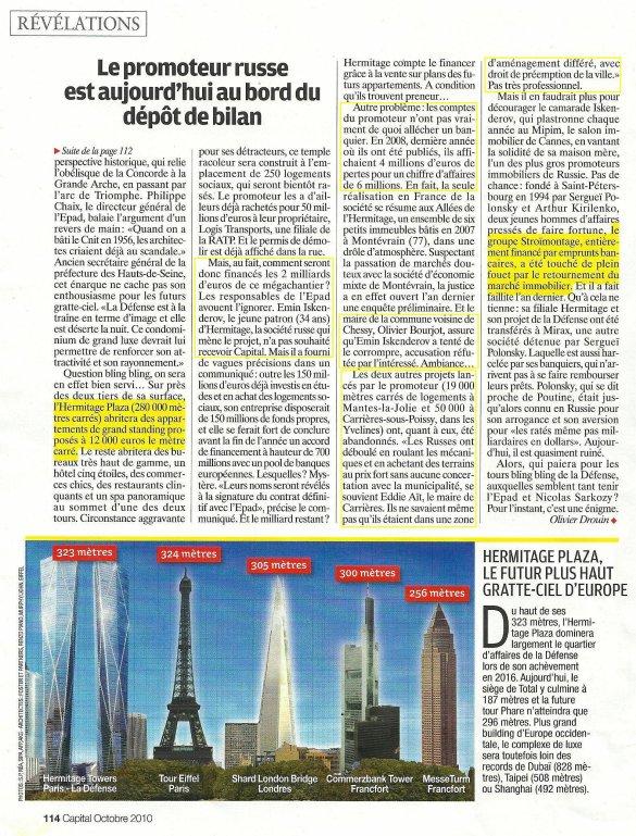 Paris-La Défense, l'énigme des futures tours russes. Problème: leur très opaque promoteur russe est en quasi-faillite...