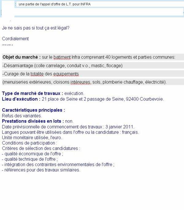 Appel d'offres : Desamiantage (colle carrelage, conduit v.o. ... Client : ESH Logis Transports