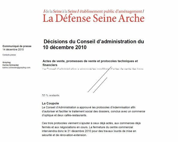Décisions du Conseil d'administration du 10 décembre 2010