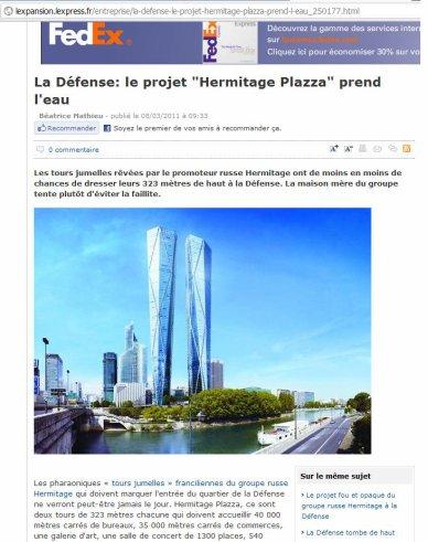 """La Défense: le projet """"Hermitage Plazza"""" prend l'eau"""