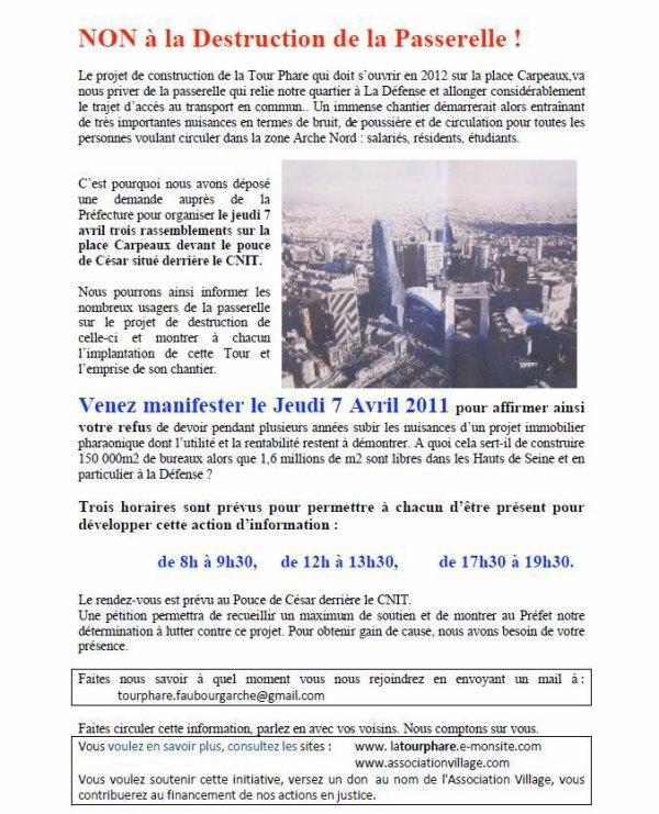 Rendez-vous le 7 avril sur la passerelle Carpeaux